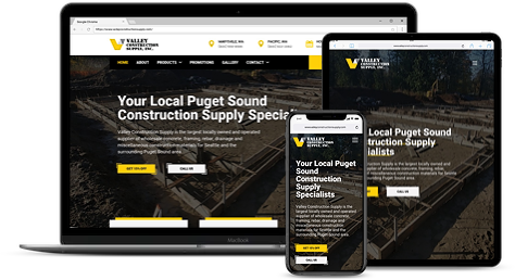 valley construction supply website mock up