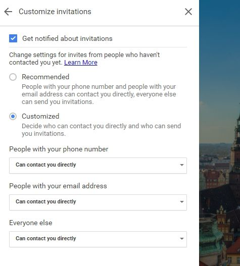 Google Voice Customize invite