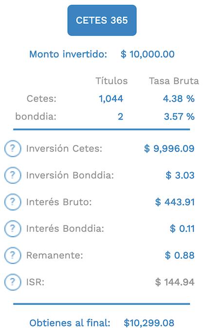 Calculadora de rendimientos de Cetes a 1 año