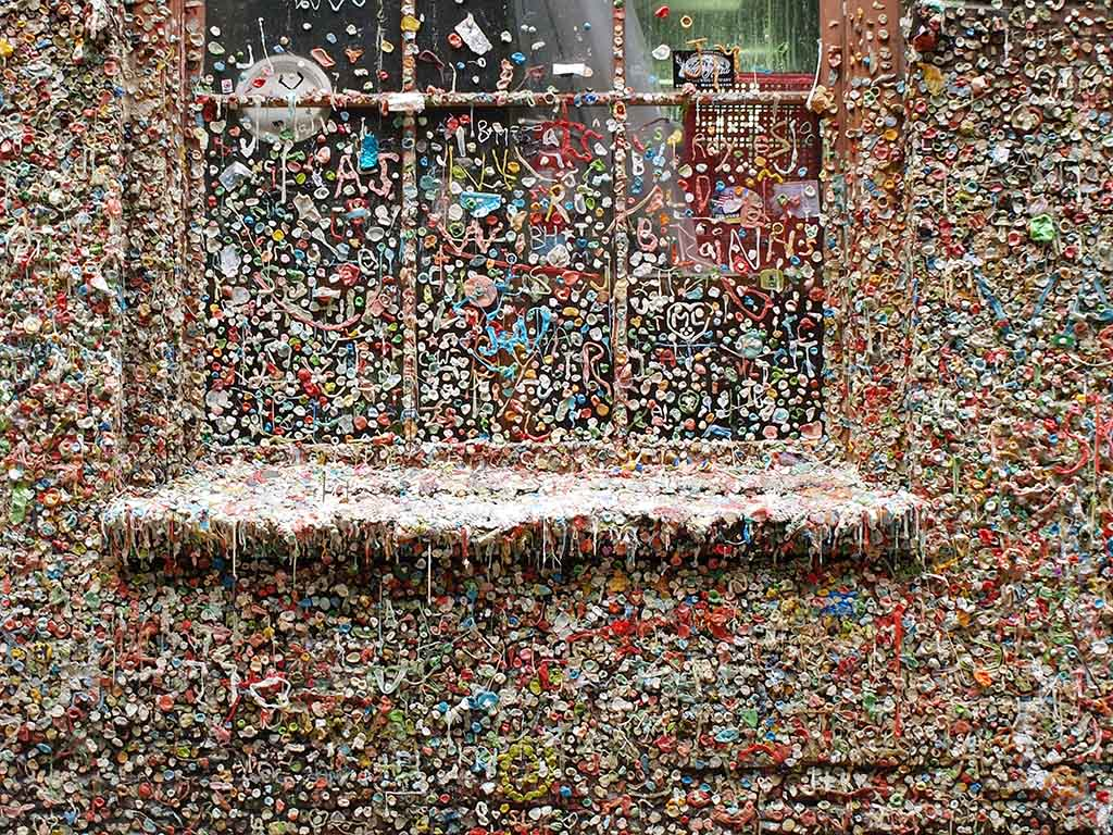 The Market Theater Gum Wall is covered in used chewing gum