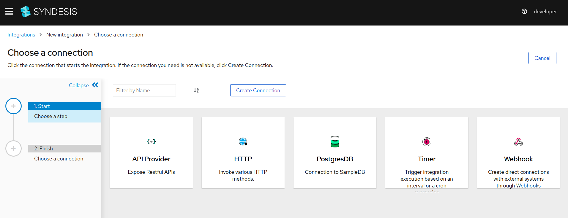 Choosing Webhook connection