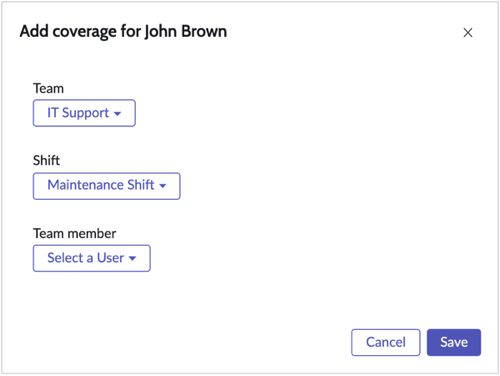The Add coverage form.