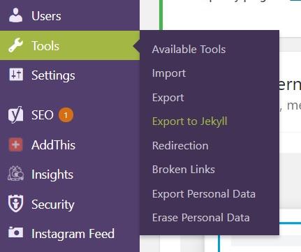 Wordpress to Jekyll - Jekyll Exporter plugin