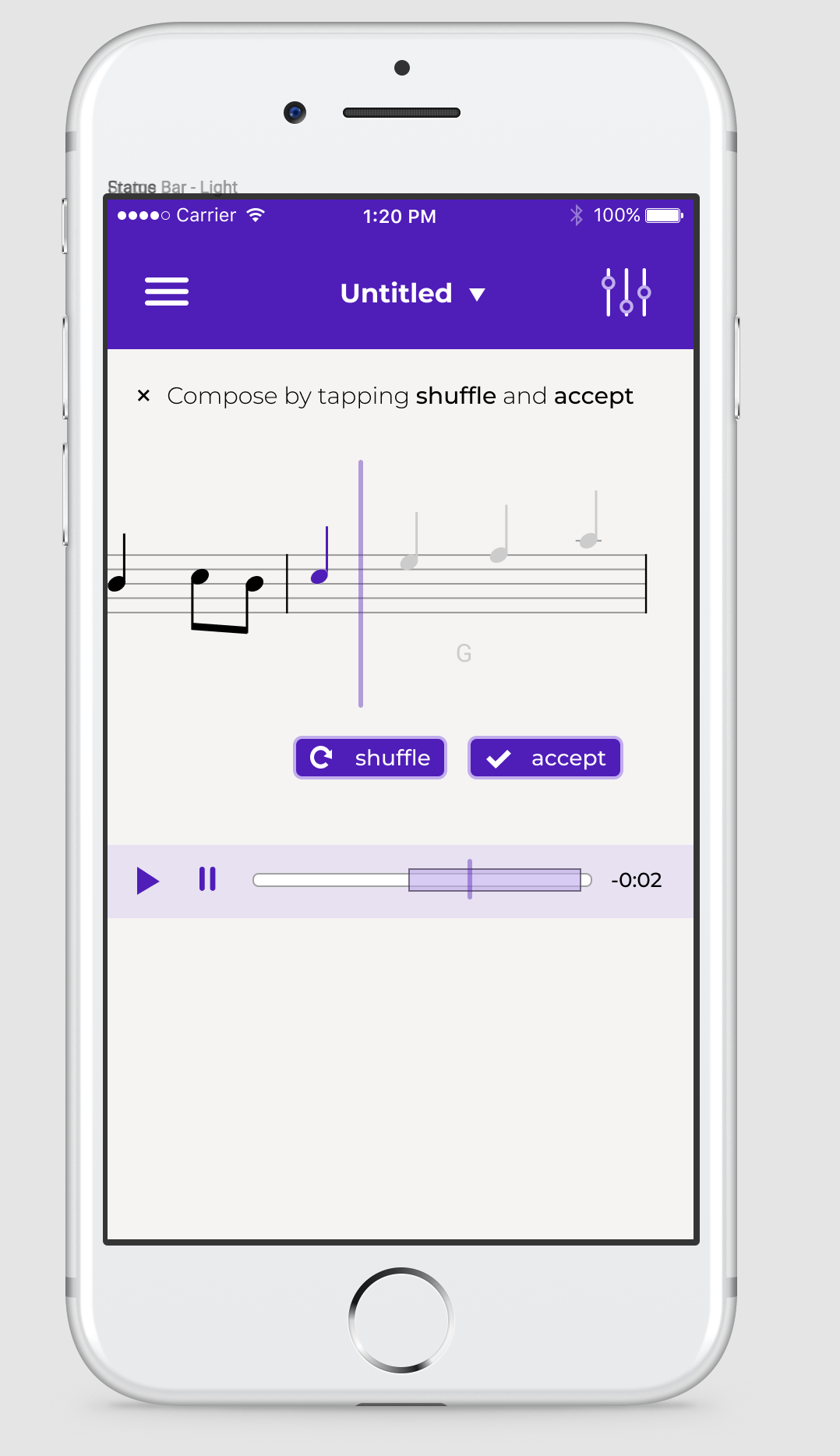 Mobile phone design concept for Tapcompose, showing a bar of music with buttons that say 'shuffle' and 'accept' and a playback bar at the bottom.