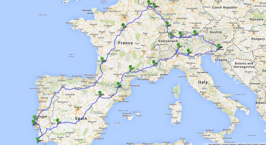 Route of the roadtrip, roughly