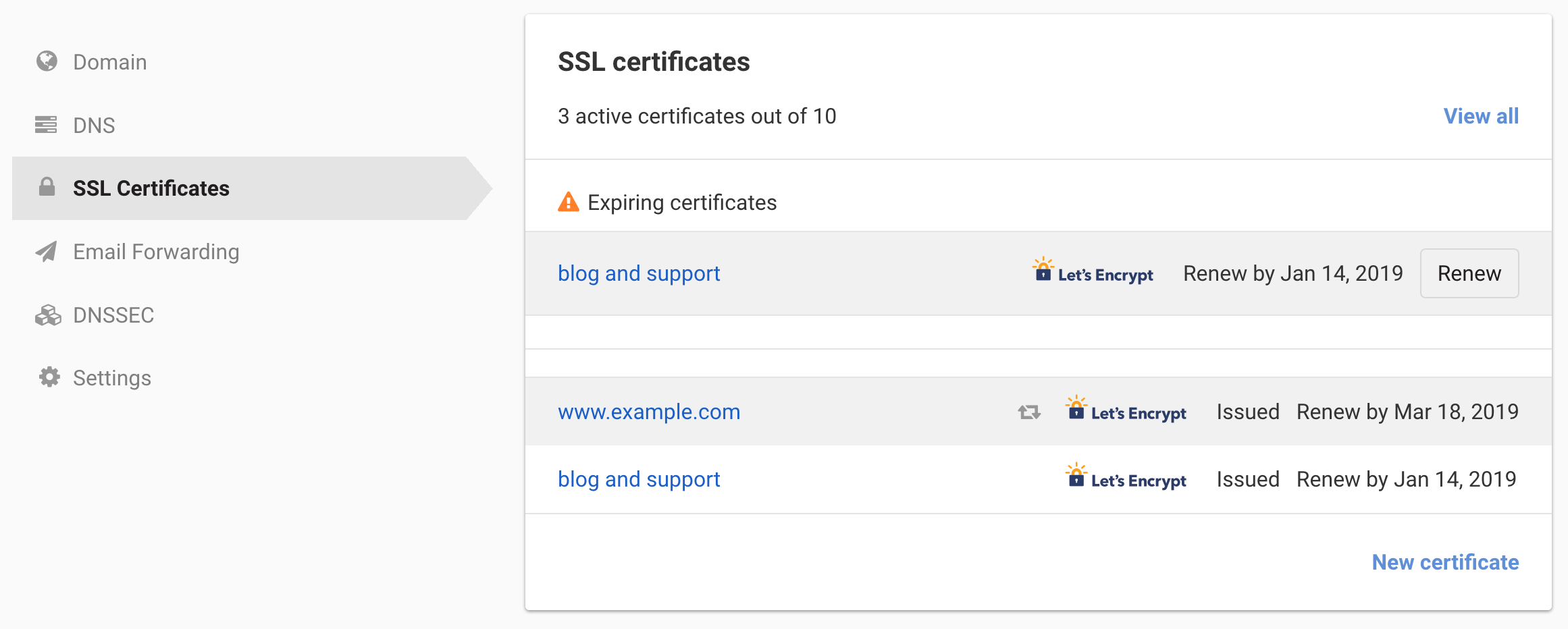 SSL certificate page link