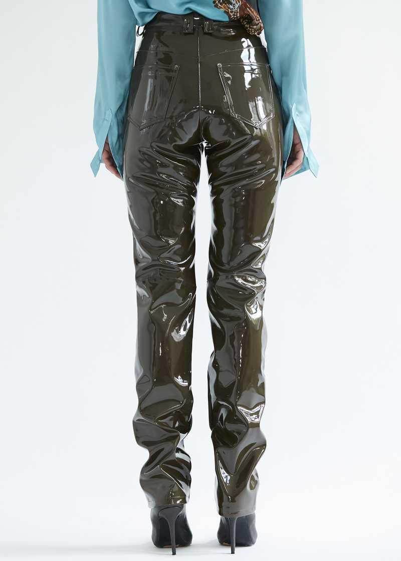 "Frey Vinyl Trousers Khaki. GmbH SS20 ""20 20 Vision"" collection."