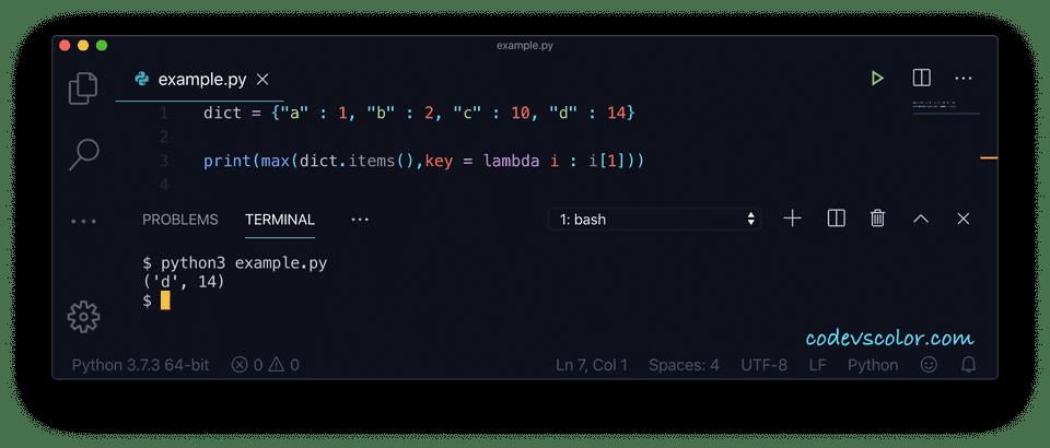 Python key maximum value example3