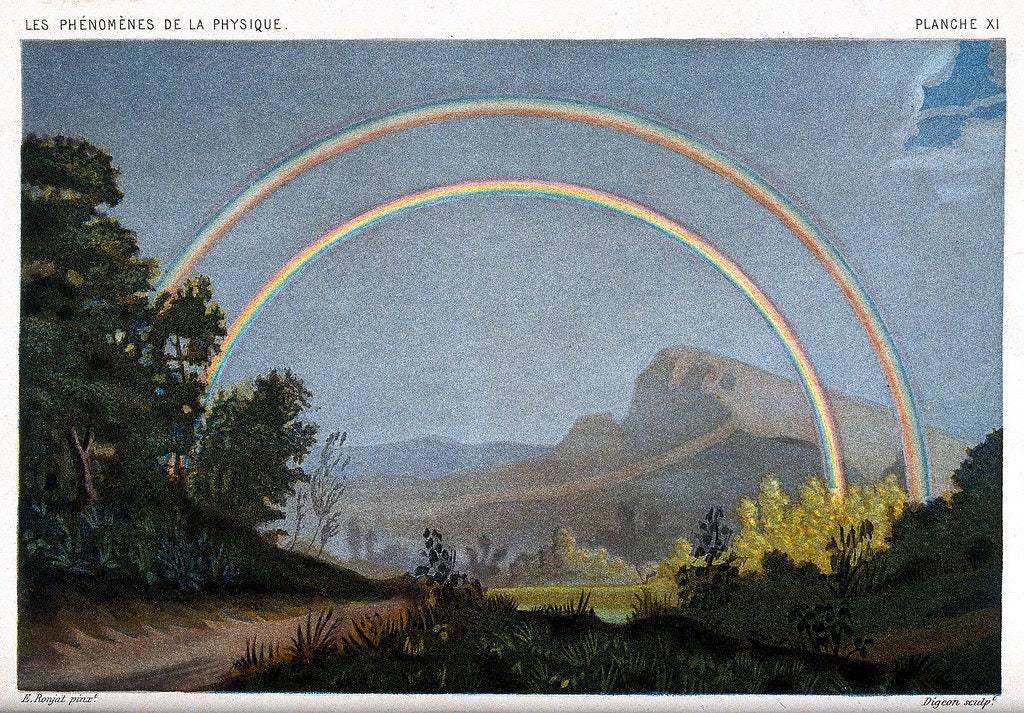 Artistic depiction of a rainbow