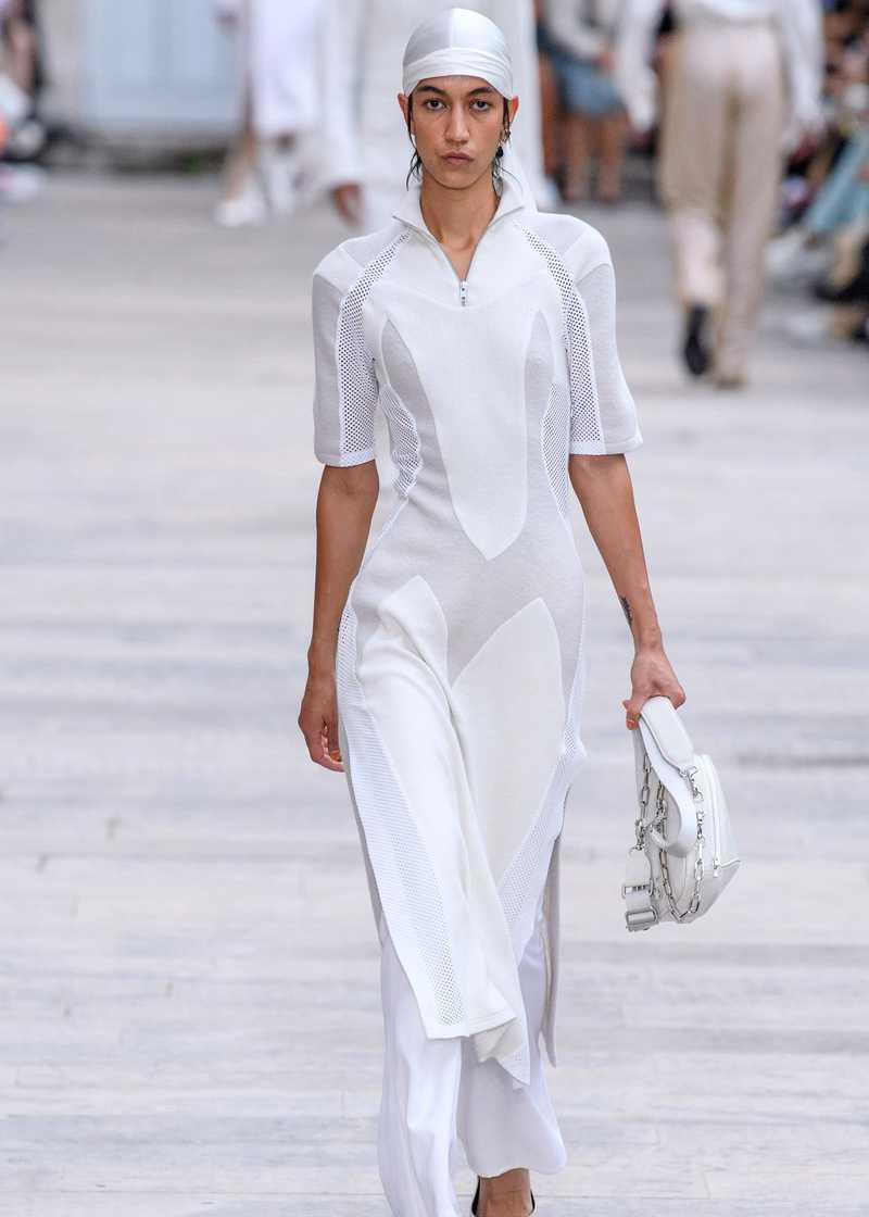 ARWA GmbH SS20 Panelled dress grey and white