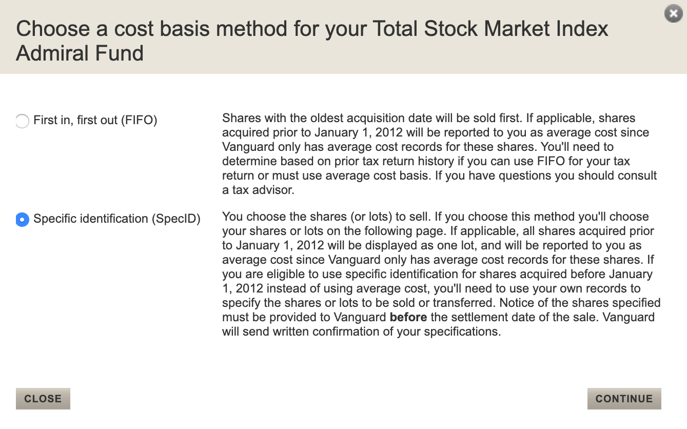 Vanguard cost basis selection page