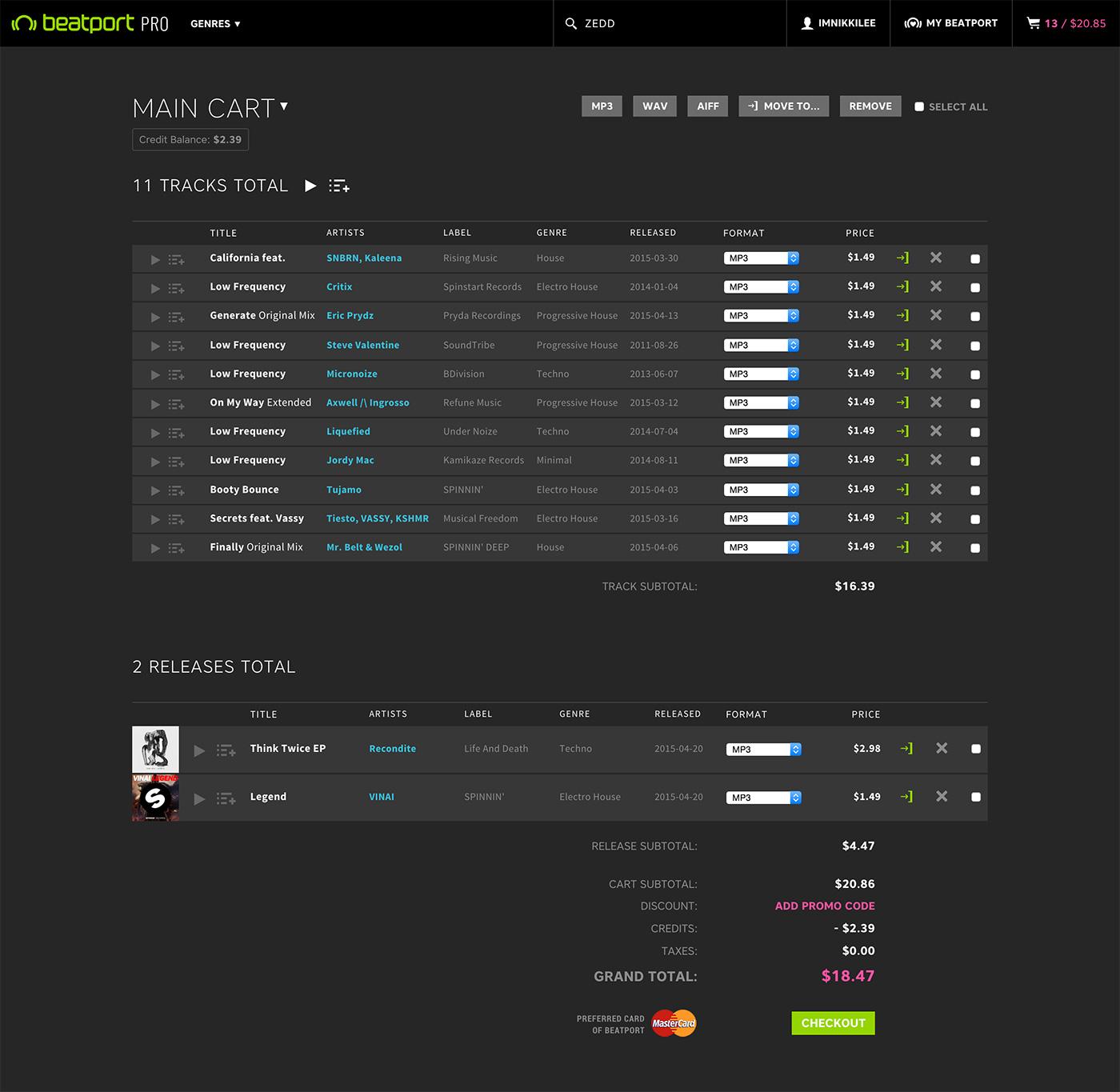 desktop cart page