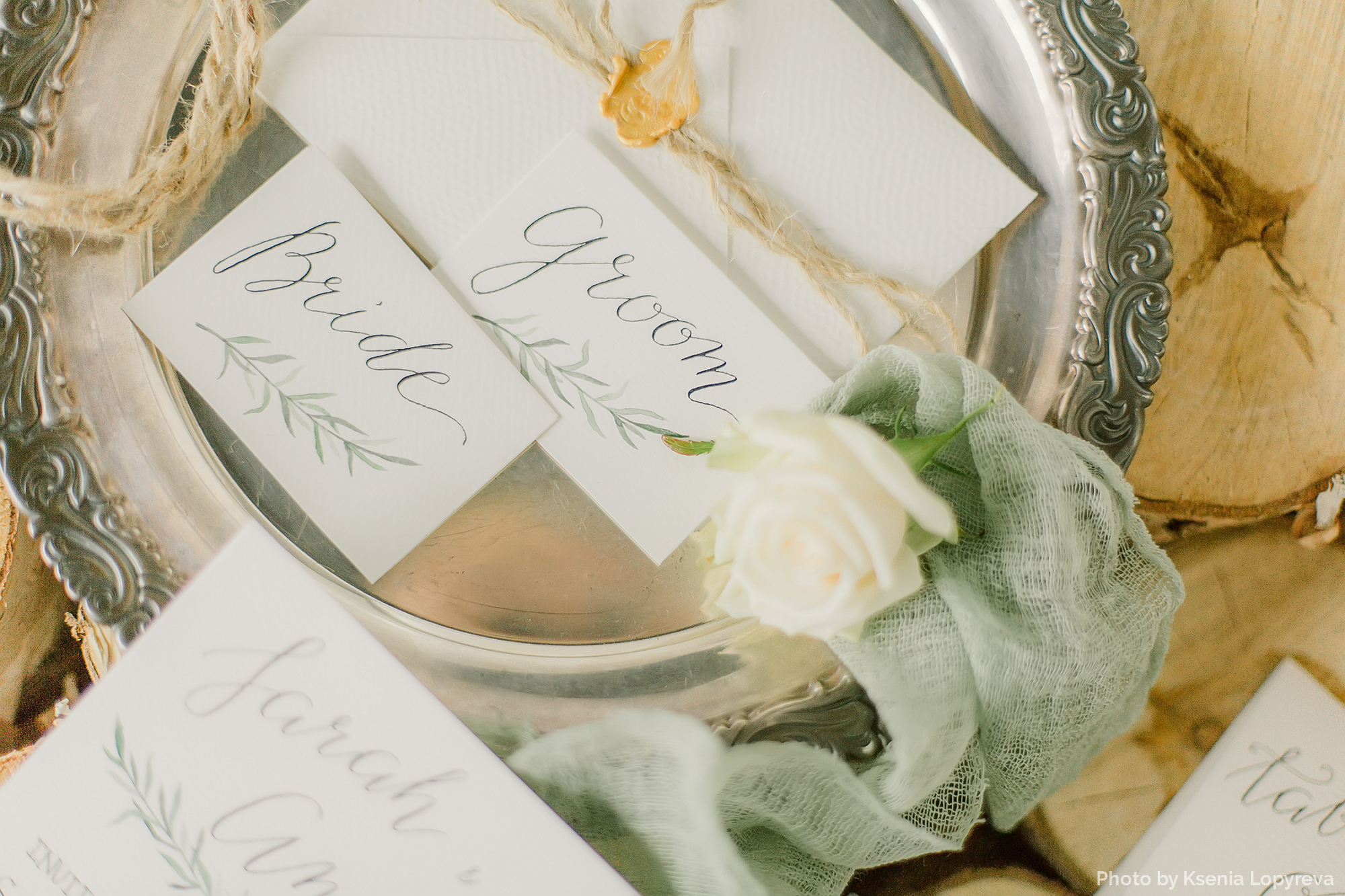 hand drawn place cards with calligraphy inscriptions item