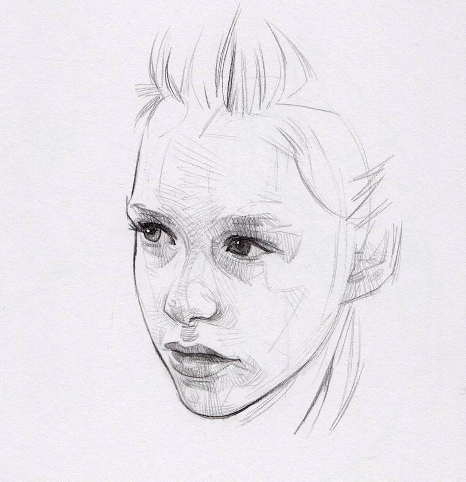 graphite pencil sketch of a person's face