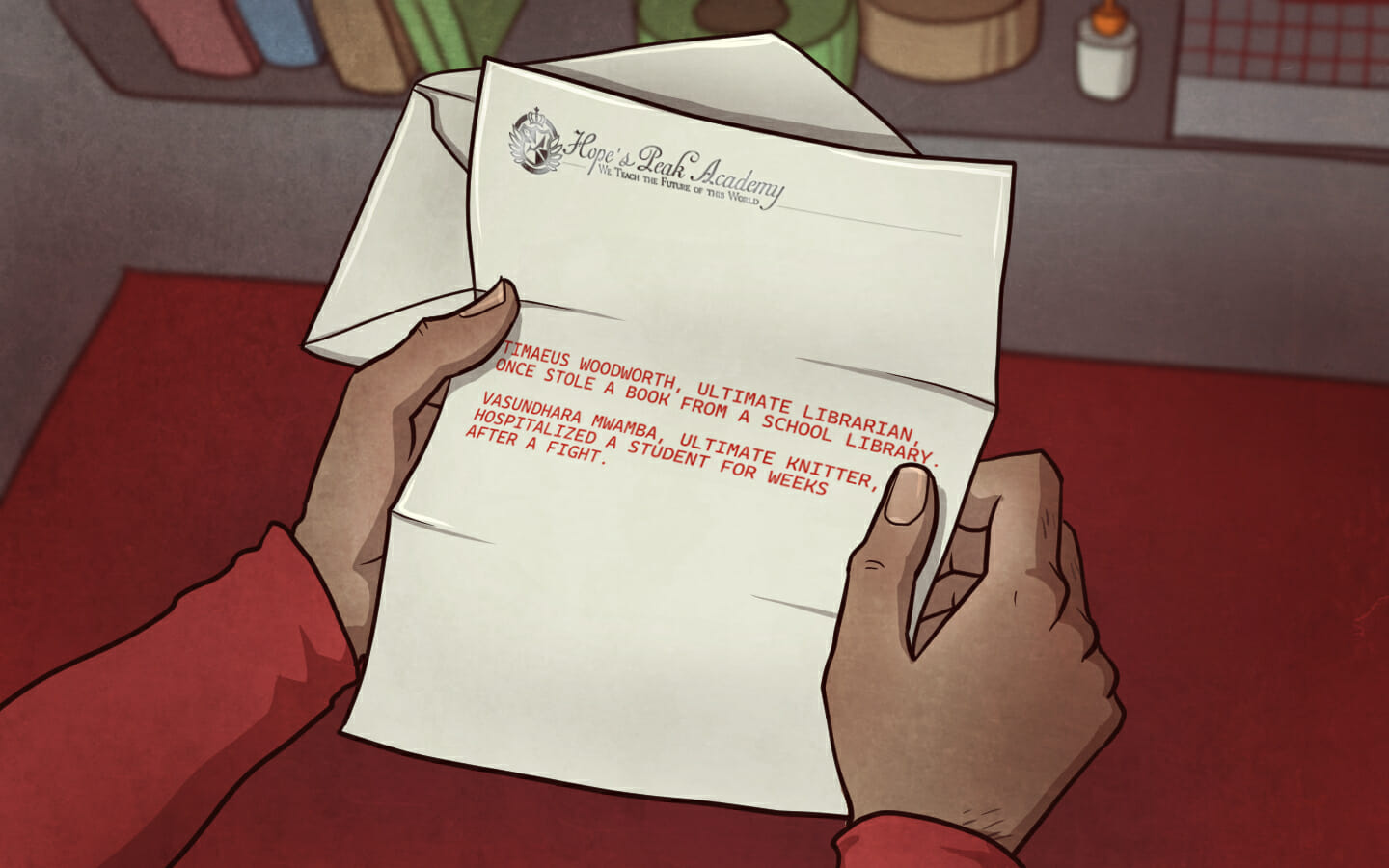 The letter, written on Hope's Peak Academy stationery in messy red handwriting.