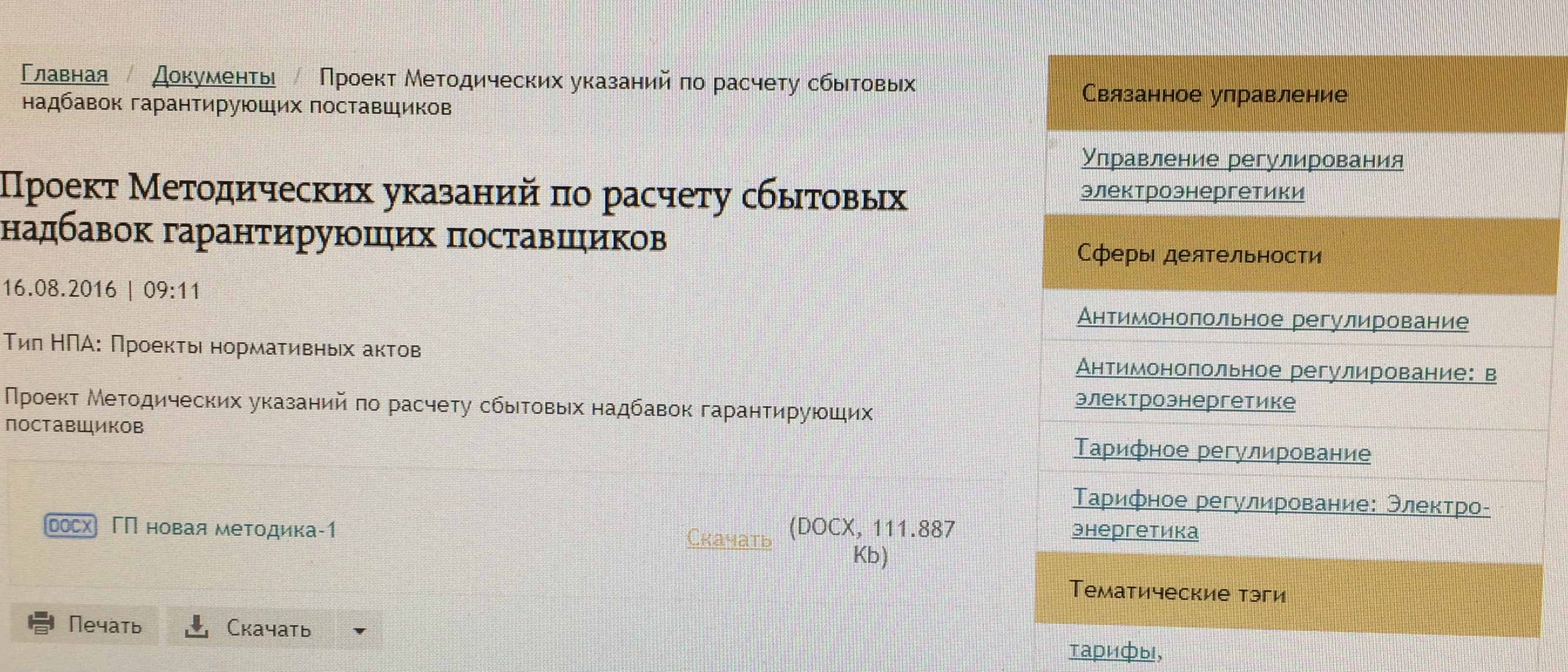Проект методических указаний по расчету сбытовых надбавок гарантирующих поставщиков
