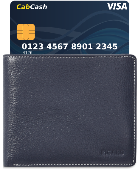 Wallet illustration with CabCash card