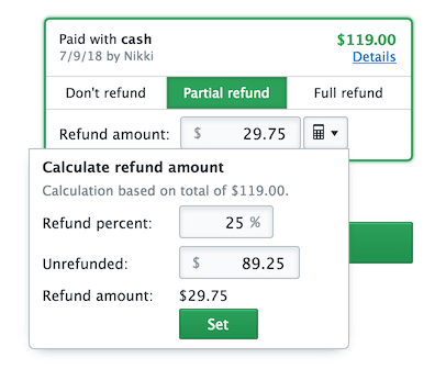 Screenshot of an interface for calculating a percentage-based refund.
