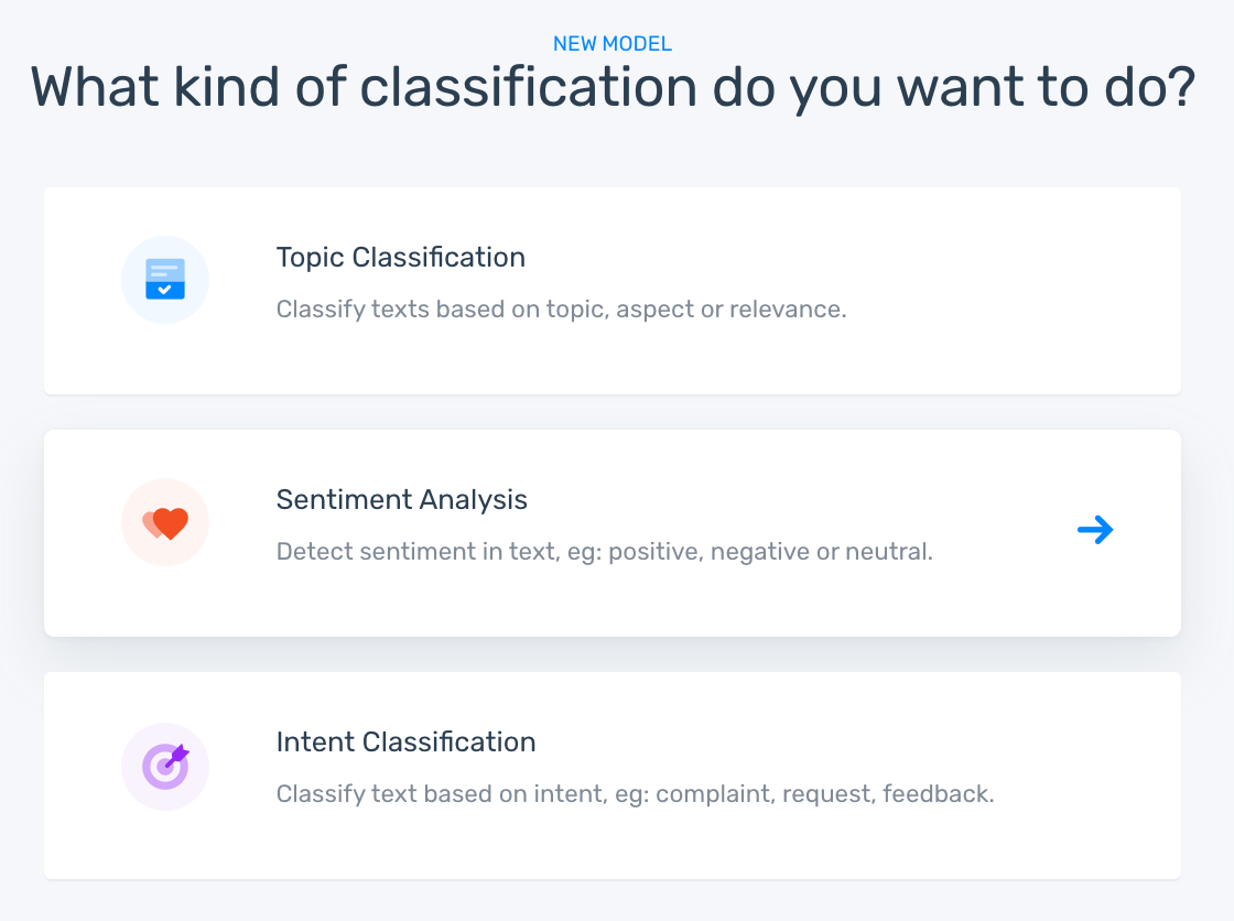 MonkeyLearn's creation wizard showing classification options: topic, sentiment, and intent.