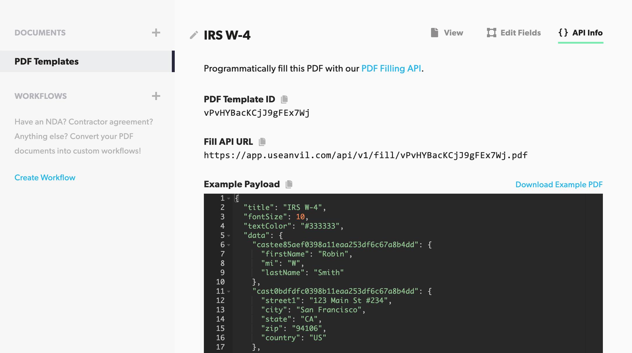 Viewing PDF Template API Info