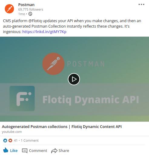 Flotiq called ingenious by Postman!