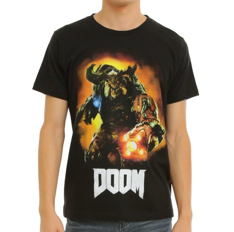 Doom Cyberdemon Graphic Logo Black Crew Neck Print T-shirt Wear