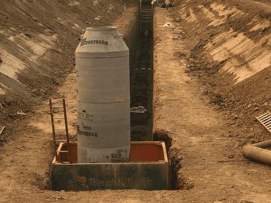 Manhole box around sewer