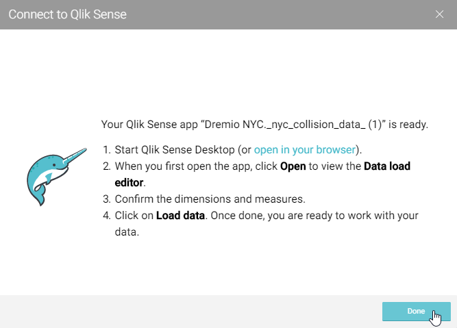 User prompt for connecting to Qlik Sense