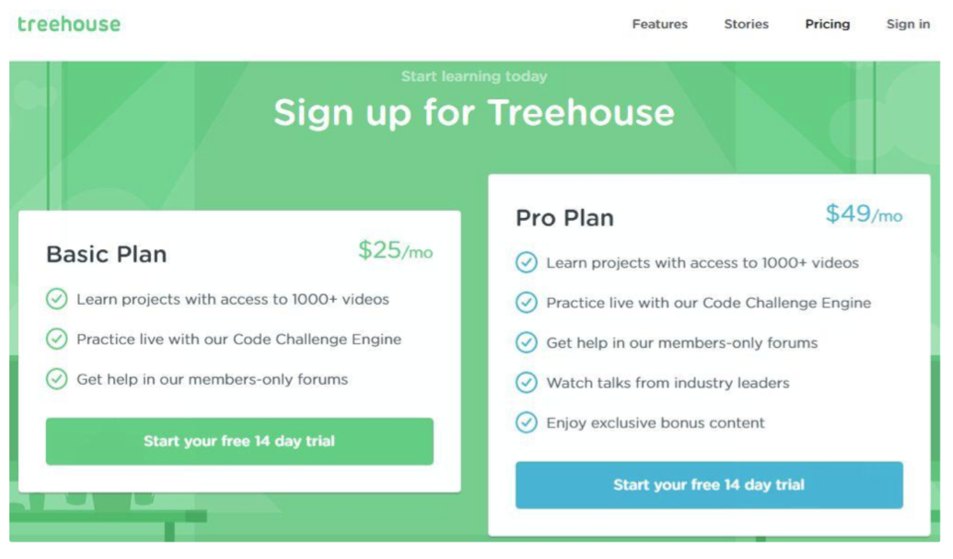 Treehouse signup page