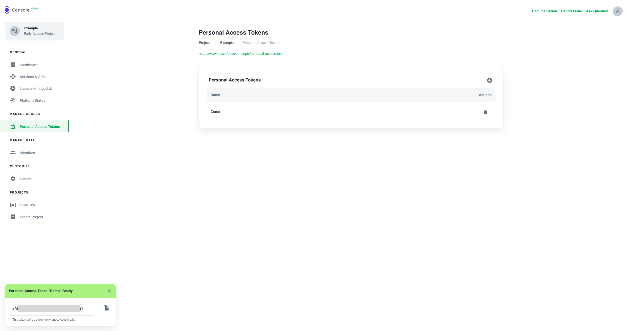 CreatePersonal Access Token