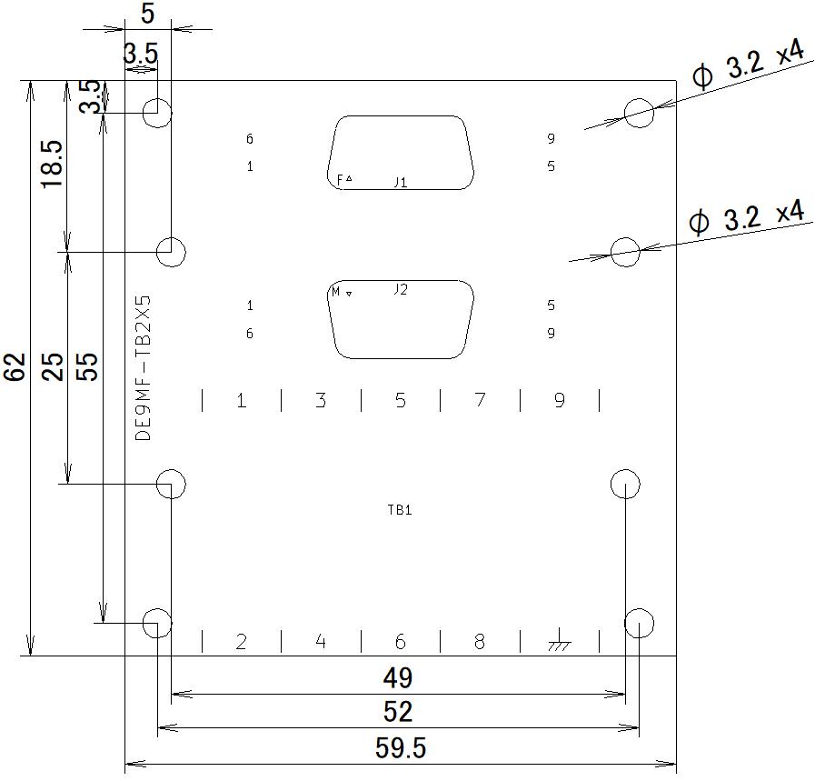 DE9MF-TB2X5の外形寸法図