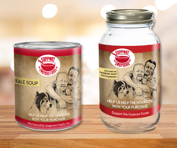 A can and jar of soup with two men and a dog as a label.