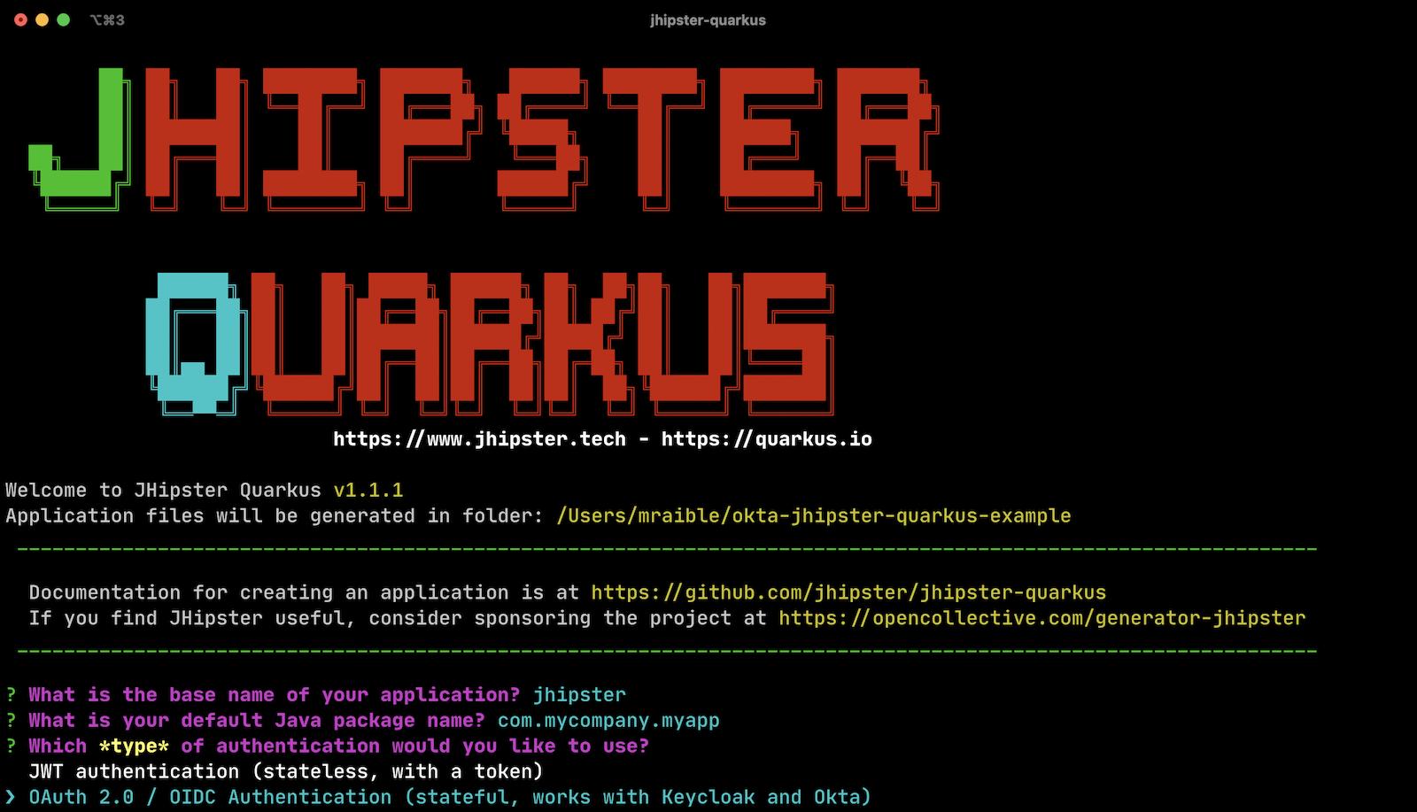 Generate JHipster Quarkus app