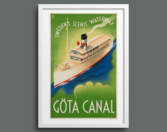 Göta Canal, Sweden vintage travel poster