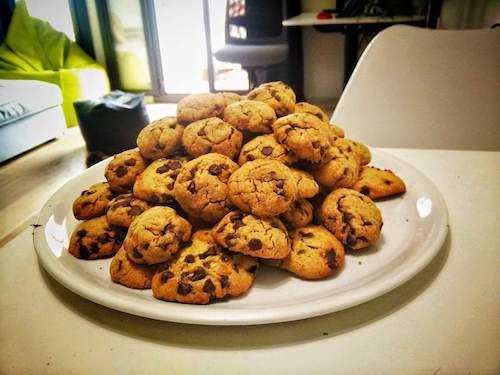 Stack of golden cookies