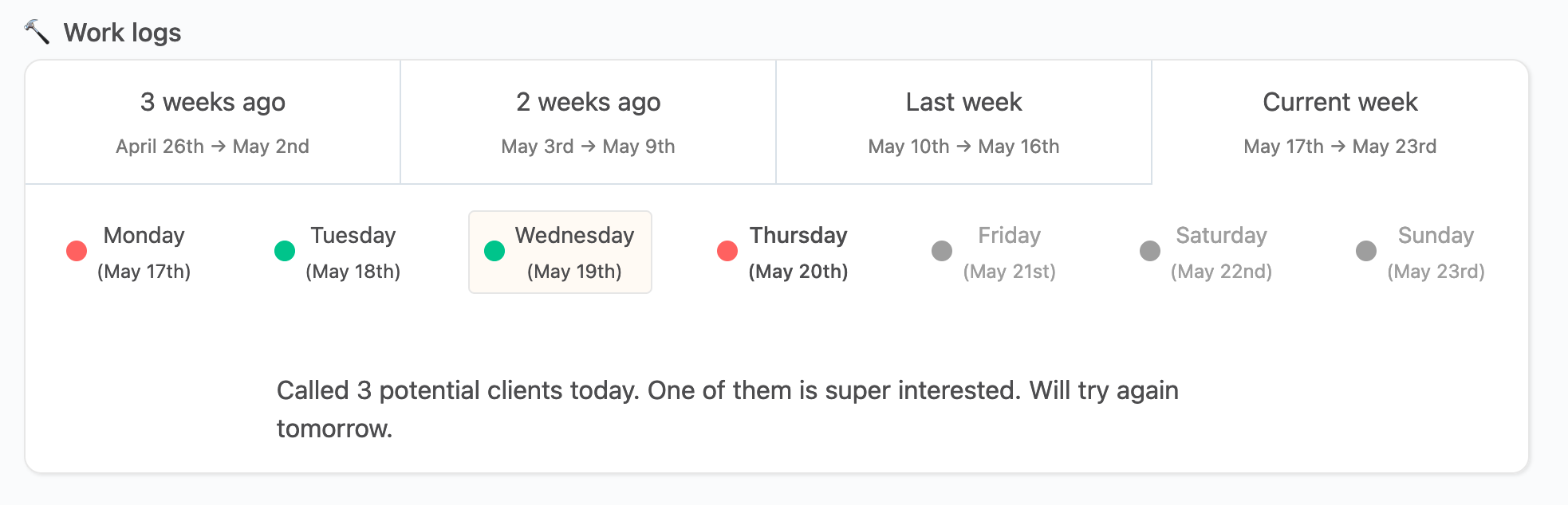 image of work log on employee page