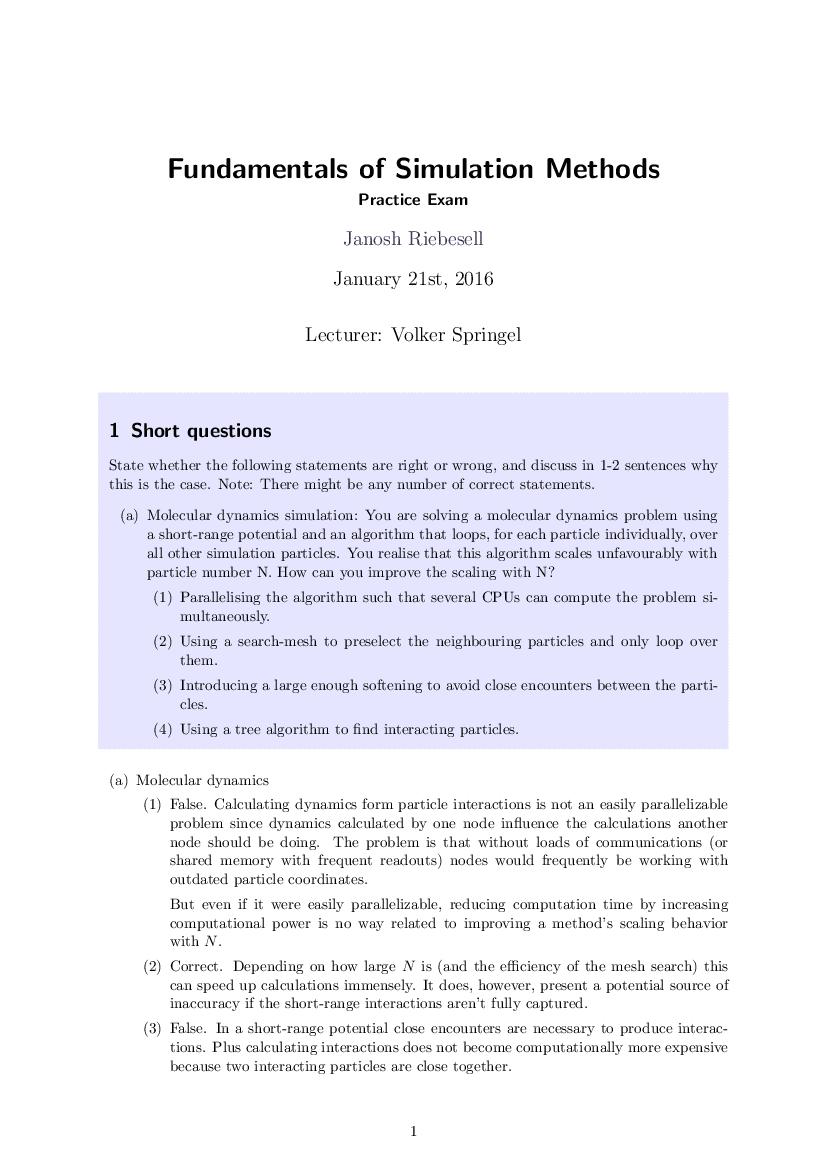 Practice exam solution