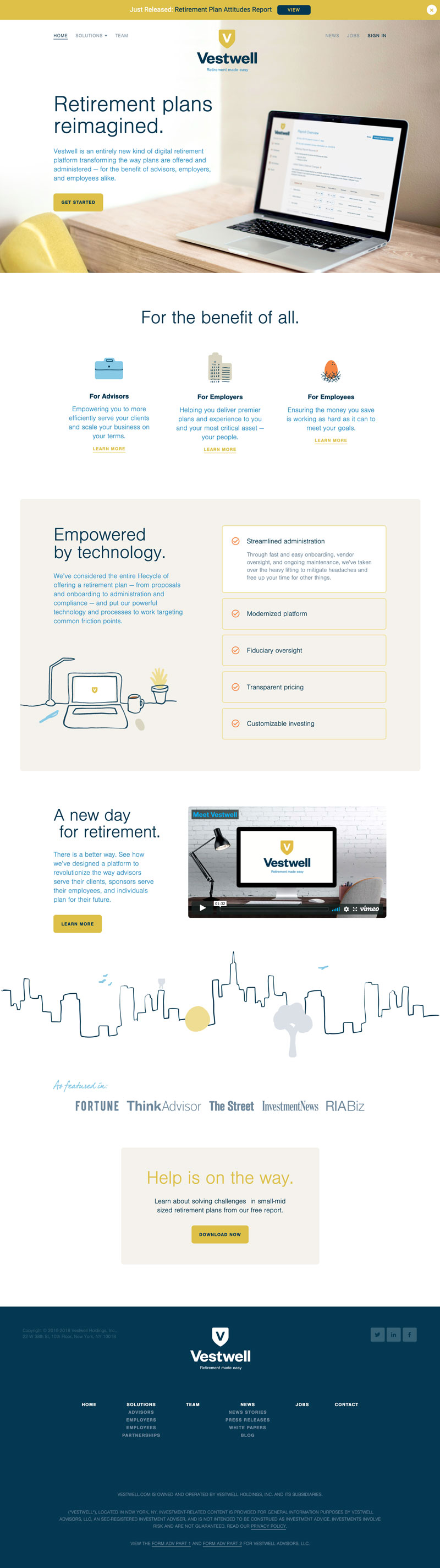 The homepage of Vestwell.com.
