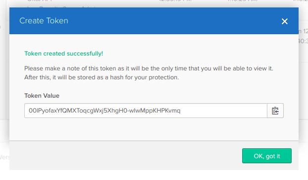 Screenshot of the Okta screen for creating an API token.