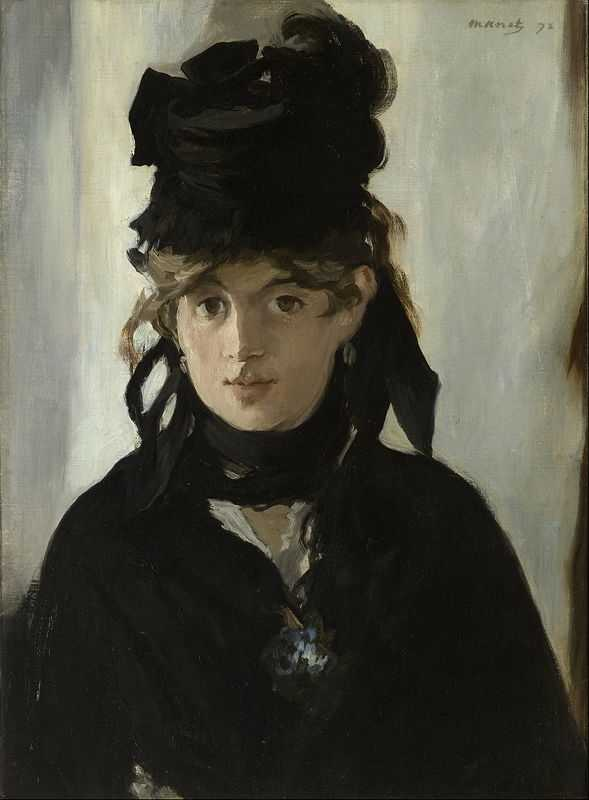 Berthe Morisot with a Bouquet of Violets (in mourning for her father) painted by Édouard Manet in 1872