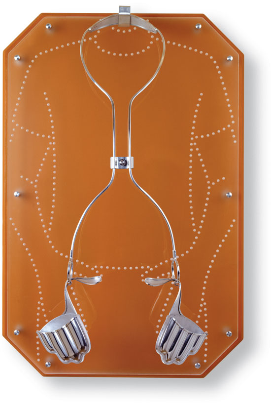 A warm-colored acrylic backboard for the unguarded gesture described above—with an etched surface that semi-reflects the wearer.