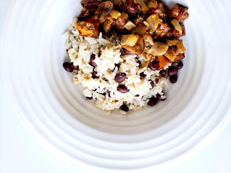 Coconut Rice with Black beans in a Bowl