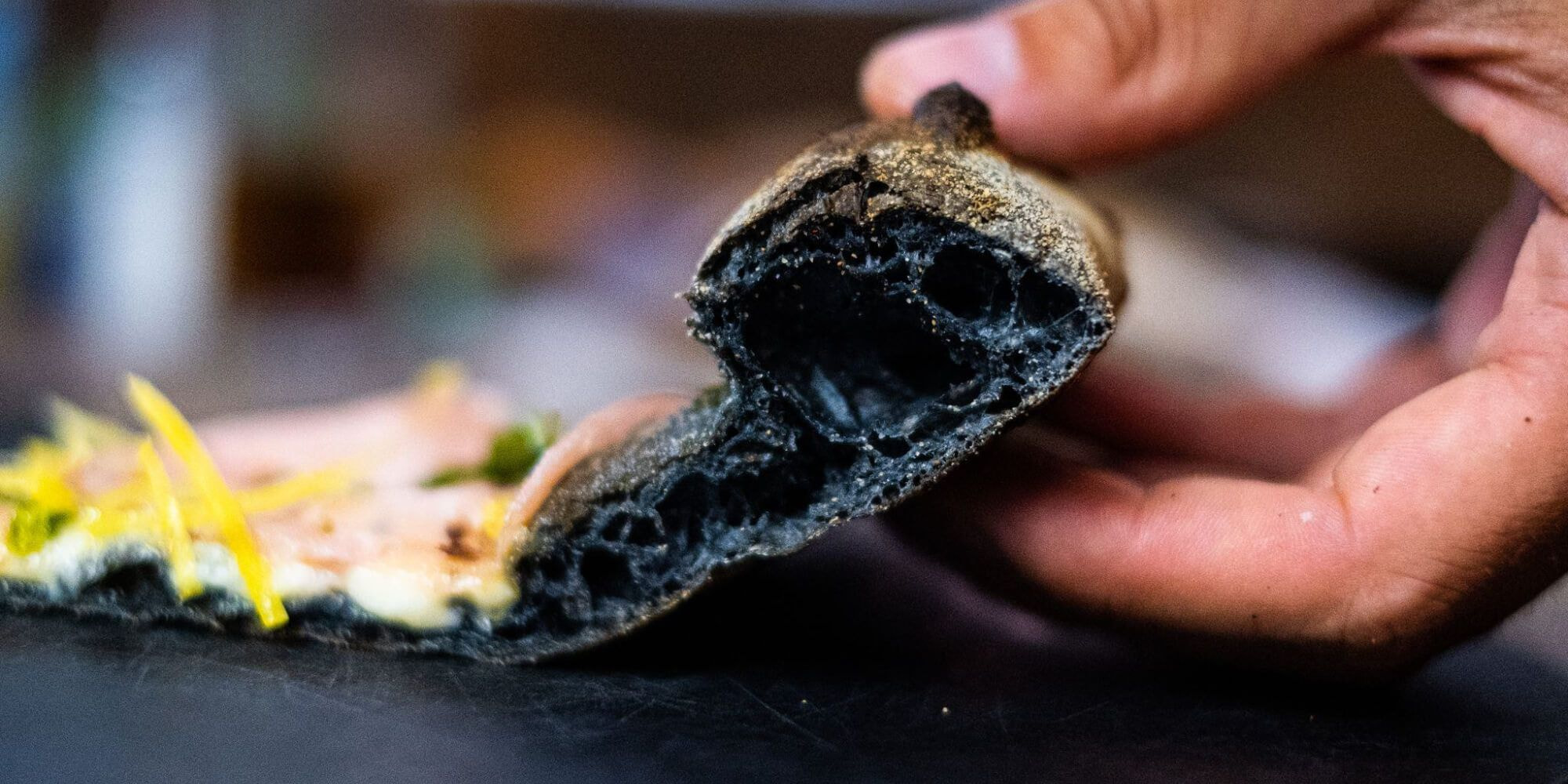 Charcoal pizza at Livin`Italy