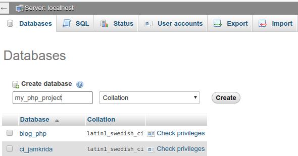 Membuat database baru untuk Phinx
