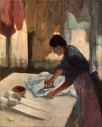 'Woman Ironing', by Edgar Degas, begun c. 1876, completed c. 1887, purchased by Georges Durand-Ruel [1866-1931]. The painting probably remained in the Durand-Ruel family collection from Georges' death in 1931 until at least 1947, when it was exhibited at the Durand-Ruel Gallery in New York.
