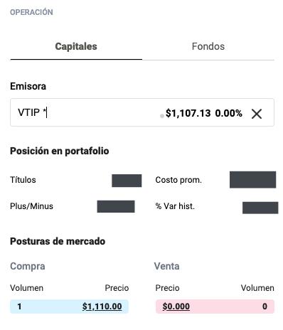 Captura de pantalla de sección de compra y venta en GBM+. Volumen de compra en 1 y volumen de venta en 0 para ETF VTIP.