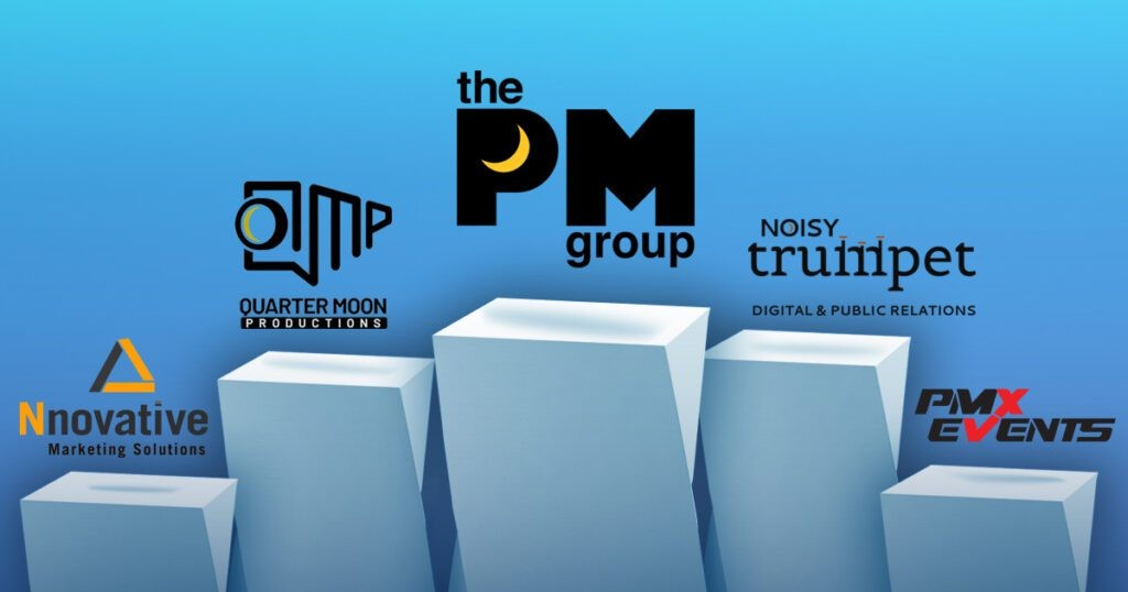 The PM Group full service advertising agency services depicted by The PM Group logo, QMP logo, Noisy Trumpet logo, PMX Events logo, and Nnovative logo