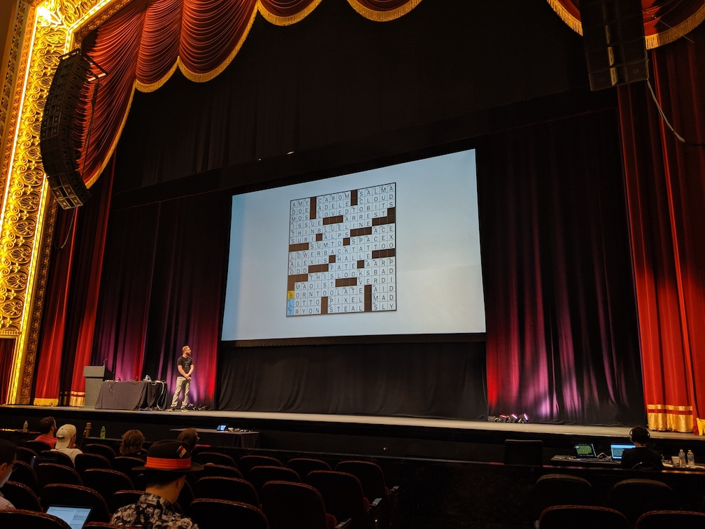 Darren with the crossword on stage