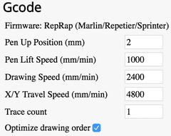 screenshot of gcode settings