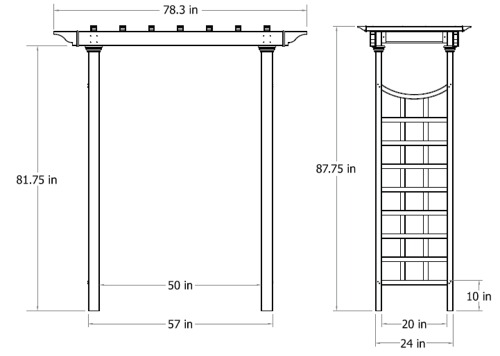 Westhaven Arbor wireframe dimensions
